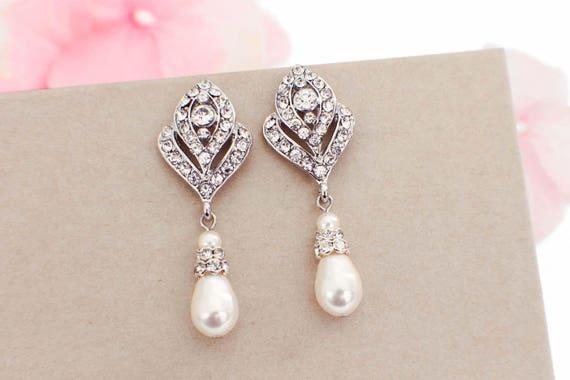 Wedding Earrings Pearl Drop Earrings Art Deco Earrings Etsy