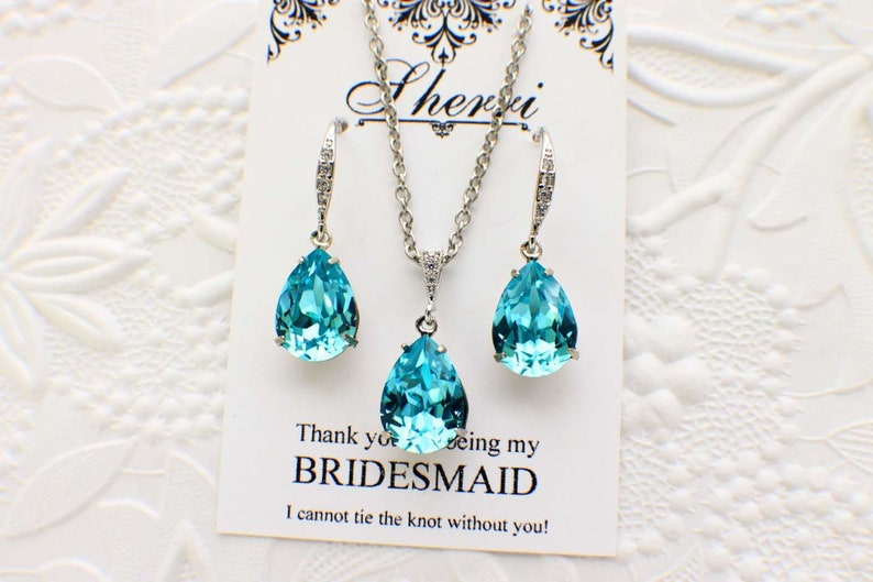Maid of Honor gift bridesmaid earrings gift set bridesmaid necklace bride jewelry blue wedding necklace set Blue bridesmaid jewelry set