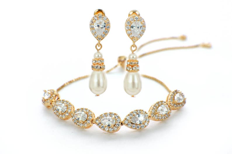 crystal bridesmaid bracelet earrings gold bridesmaid jewelry set bridal earring bracelet set Gold wedding jewelry set bridal party gift