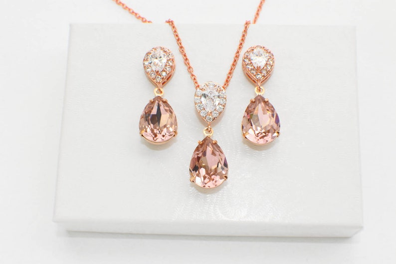 e53833b6f7106 Blush wedding necklace, bridal earrings, blush pink bridesmaid jewelry set,  blush bridesmaid gift, Morganite bridal necklace, Vintage rose