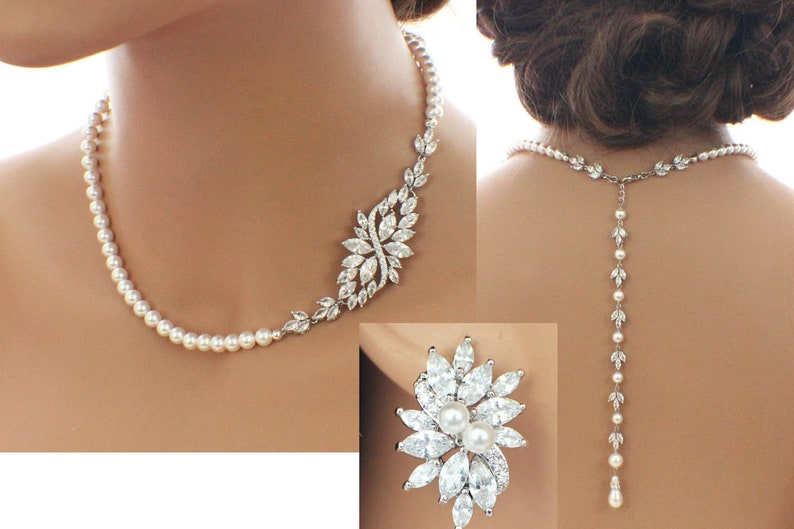 Fashion Jewelry Jewelry Sets Bridal Bridesmaid Wedding Party Silver Plated Set White Necklace Earrings 1106