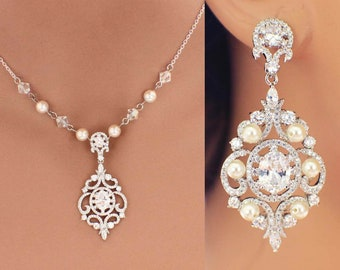 Crystal bridal necklace set, vintage style jewelry set, CZ necklace set, cubic zirconia wedding jewelry, rhinestone jewelry set, weddings