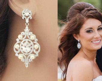 Long bridal earrings, wedding chandelier earrings, pearl rhinestone bridal earrings, rhinestone, wedding jewelry, long crystal earrings