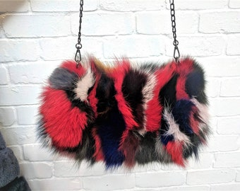 Fox Fur Bag Hand -warmer Cross-body