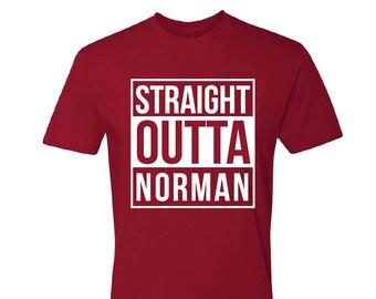 Straight Outta Norman T-Shirt - Norman OK Shirt - Norman T-Shirt - Crimson OK T-Shirt - Red Oklahoma T-Shirt - Men's Oklahoma T-shirt