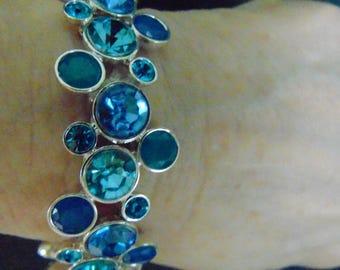 Bracelet, aqua, blue, sterling silver