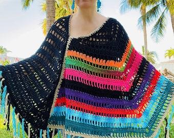 Hippie Boho Knit Poncho Waterfall Boat Neckline Top Ladies Poncho Boho Crochet Top Poncho Sommer Poncho Bikini cover Up Cape Cognac Rust