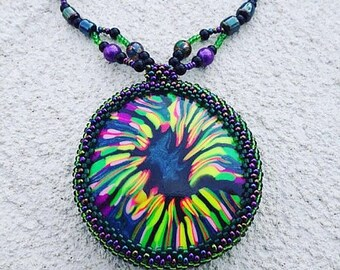 Boho Hippie Necklace, Boho Necklace, Hippie Necklace, Hippie Jewelry, Boho Tye Dye Necklace, Beach Jewelry, Bohemian Jewelry