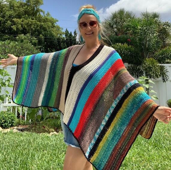Gift for women Bohemian crocheted shawl Boho poncho Womens medium burgundy stripe poncho