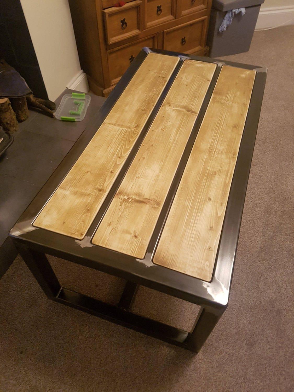 acier et table basse en bois etsy. Black Bedroom Furniture Sets. Home Design Ideas