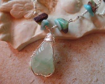 Crystal necklace, quartz crystal jewelry, blue green quartz