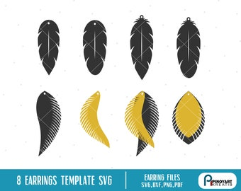 Feather Earrings Svg Etsy