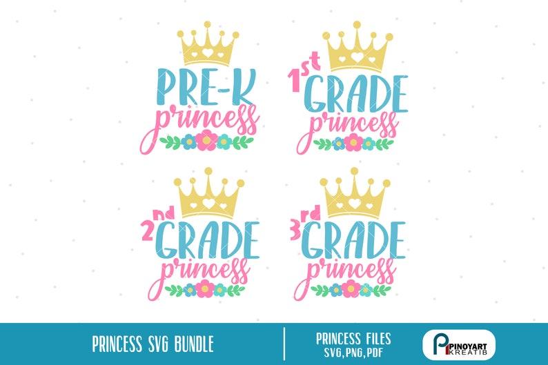 Princess Svg First Grade Princess Svg Second Grade Princess Etsy