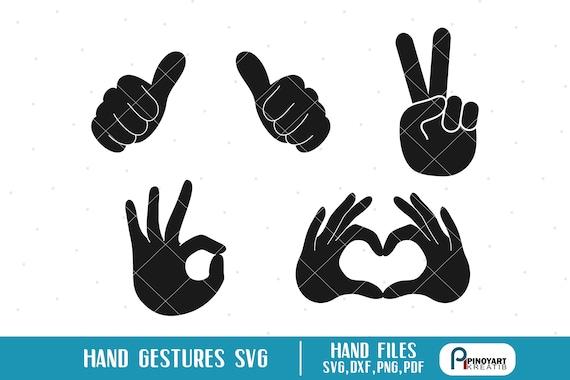 Hand Gestures Svg, Hand Sign Svg, Peace Sign Svg, Love Sign Svg, Heart Sign  Svg, Ok Sign Svg, Hand Clip Art, Hand Signals Svg, Svg, Dxf,Hand