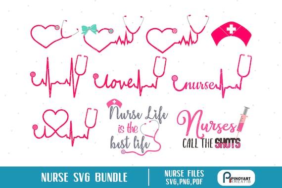 Nurse Svg Heartbeat Svg Ekg Svg Nurse Life Svg Stethoscope Etsy