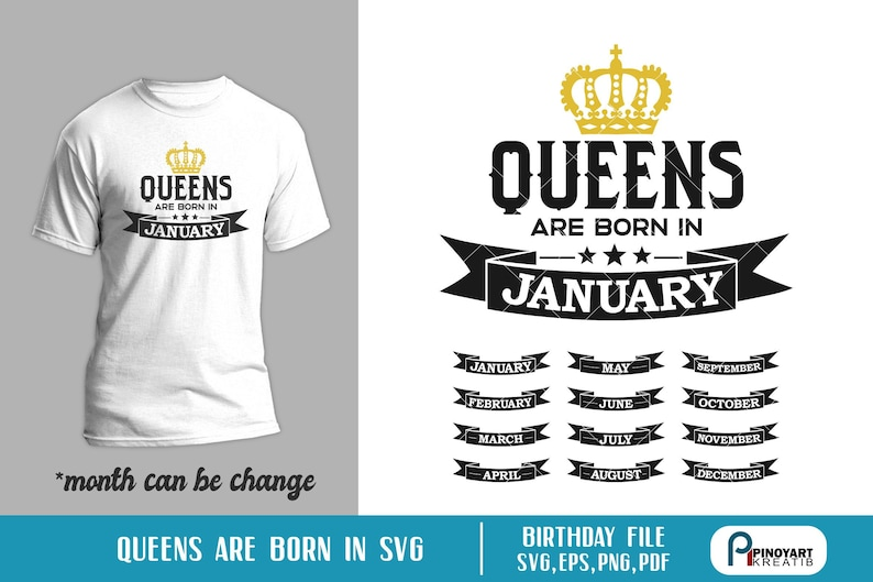 b312e15496c 12 Birthday Months Svg Queens Are Born in January February March