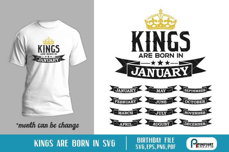 3a06c95f Birth Month Svg Kings are Born Svg King Svg Birth Svg King | Etsy