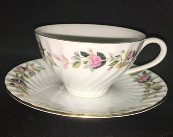 Flat Cup and Saucer Set in Regency Rose by Creative