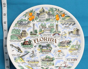 Vintage Florida The Sunshine State Souvenir Plate