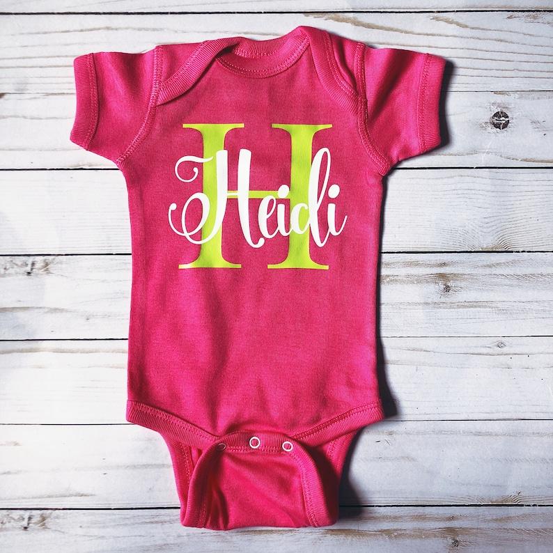 1d1be6ae3 Monogram Infant Bodysuit Baby Initial Name Onesie Coming | Etsy