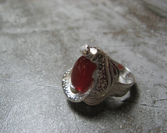 Carnelian Gemstone Ethnic 925 Sterling Silver Ring Size 8.5 Kr-1800 Jewelry & Watches Fine Rings