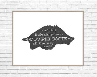 Razorback Print | Razorback Art Print | Razorback Home Decor | Razorback Nursery Art | Razorback Kids Print | WPS Print | Woo Pig Sooie Art