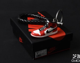 41217d4fabfacd Mini Sneaker 3D Shoes Keychain of Nike Air Jordan 1 Chicago Red White with  Braided KeyRing