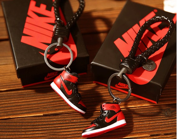 AIR JORDAN 1 Handcrafted DIY 3D Mini Sneaker Keychain with Box//Bag Gift Set
