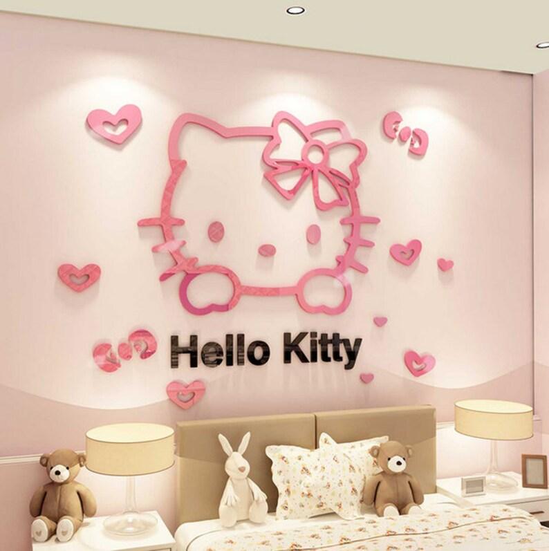 hello kitty 3d wall decal room decor wall sticker acrylic | etsy