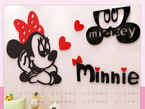 Minnie Mouse 3D Wall Decal Stickers Room Decor Wall Sticker Acrylic Mirror  Surface Nursery Bedroom Decor