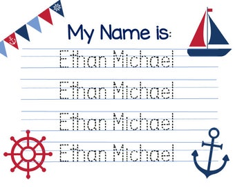 Customized Nautical-theme Name Writing Practice