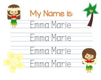 Customized Hula Girl Name writing practice