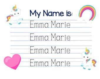Customized Unicorn theme Name writing practice