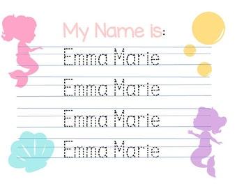 Customized Mermaid Theme Name writing practice