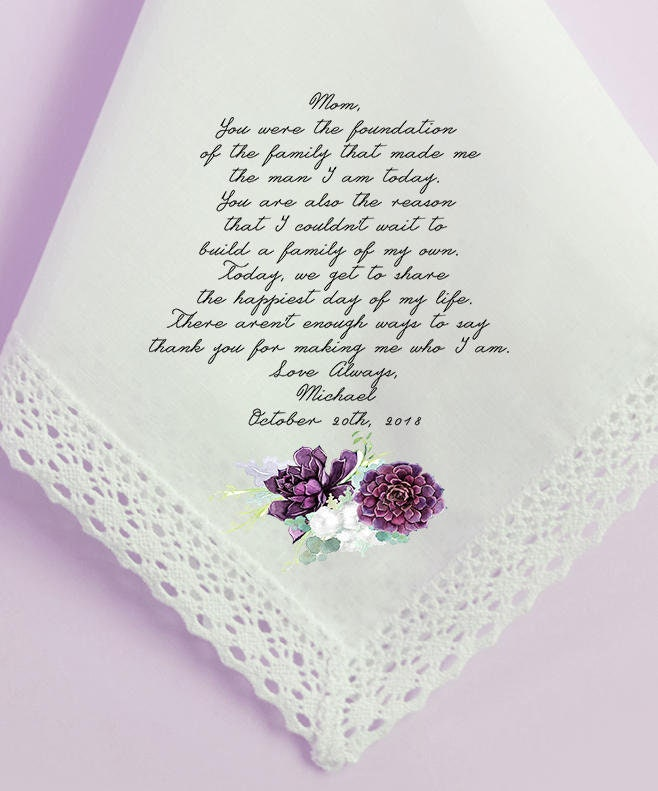 Wedding Handkerchiefs For The Family: Wedding Handkerchief Mother Of The Groom Handkerchief Mom