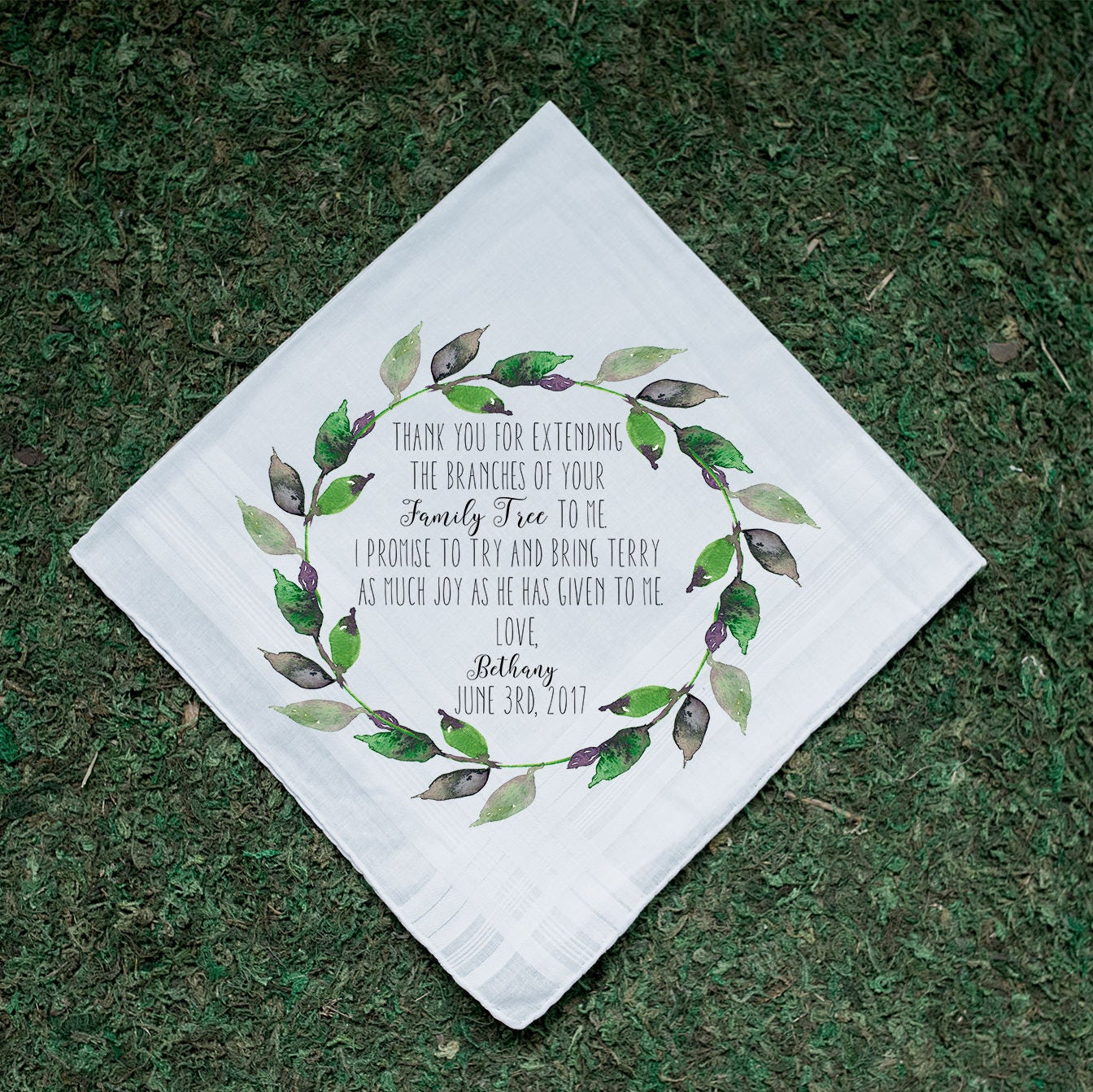 Wedding Handkerchiefs For The Family: Wedding Handkerchief Family Tree Mother In Law Father In