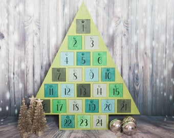 Wooden advent calendar, christmas advent calendar, christmas countdown, advent with drawers, wooden christmas tree, handpainted