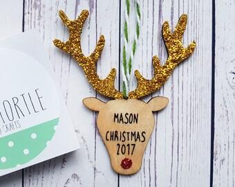 Children's christmas decoration, reindeer decoration, wooden xmas decoration, glitter xmas, handpainted, rudolph decoration, christmas gift