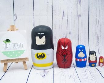 Superhero nesting dolls, superhero decor, stacking dolls, russian dolls, room decoration, birthday gift, wooden dolls, matryoshka, babushka