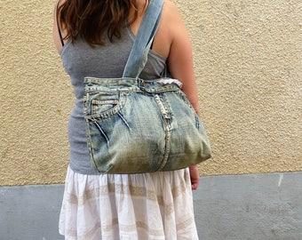 Recycled blue jeans simply belted with lace, up-cycling, refined, chic bohemian, denim, handbag, tote bag