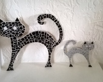 Cat duo black grey cat in mosaic, grey and black cats mosaic