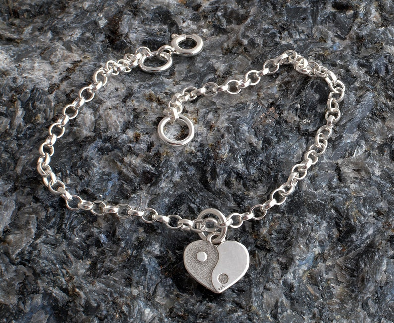 Sterling silver chain ankle bracelet 925 yin yang heart charm chain anklet