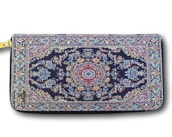 Credit card wallet, long zipper wallet, long vegan wallet, long zippered wallet, long ethnic wallet, long boho wallet, big wallet,