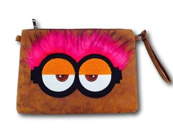 Brown vegan handbag, brown vegan bag, brown womens bag, brown clutch bag, brown clutch purse, boho clutch purse, boho clutch bag