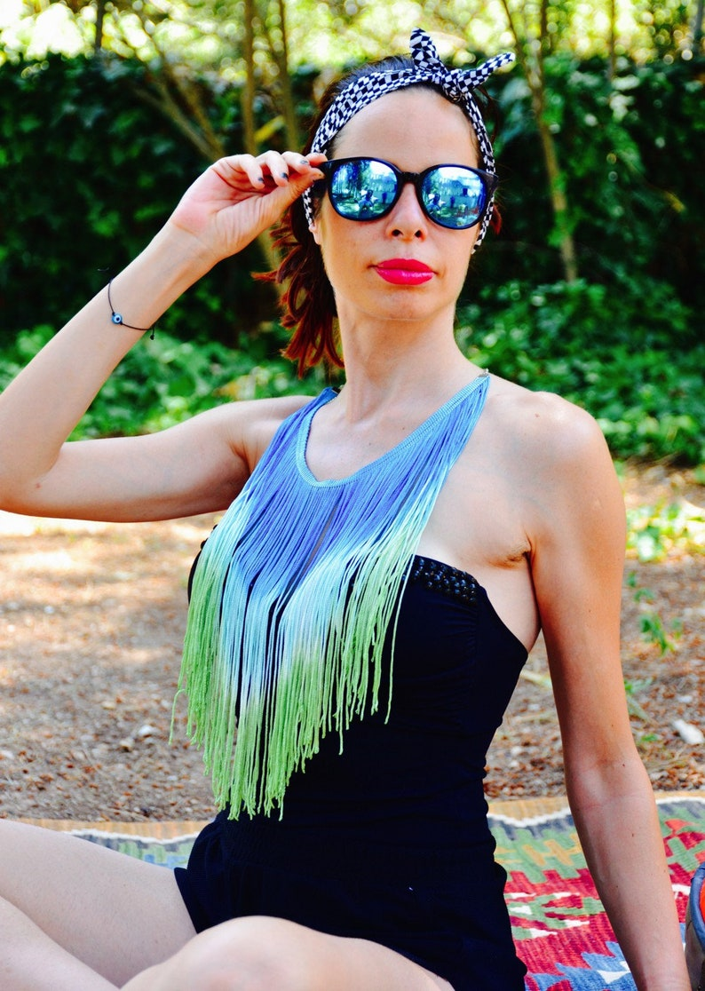 Wife Gift for girlfriend Trending Gift best friend gifts Sister gift Blue Fringe Necklace Gift for sister for Mom Daughter Gift