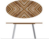 Oval Reclaimed Wood Lath Dining Table