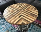 Round Reclaimed Wood Coffee Table X Pattern