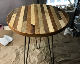 Custom Sized Round Linear Pattern Reclaimed Wood Lath Coffee Table