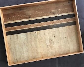 Wood Pattern Ottoman Tray | Custom Geometric Reclaimed Wood Lath Tray