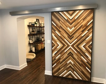 Geometric Wood Art/Barn Door| Modern Pattern Reclaimed Wood